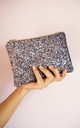 Glitter Mini Clutch Bag in Steel Silver by Suki Sabur Designs