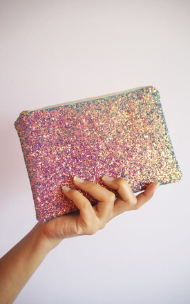 Glitter Makeup Bag in Iridescent Purple Rainbow by Suki Sabur Designs