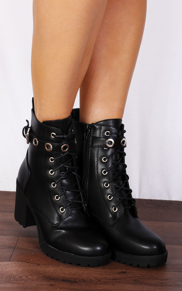 Black Faux Leather Buckle Military Lace Ups Cleated Block High Heeled Ankle Boots by Shoe Closet