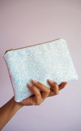 Glitter Mini Clutch Bag In White Iridescent by Suki Sabur Designs Product photo