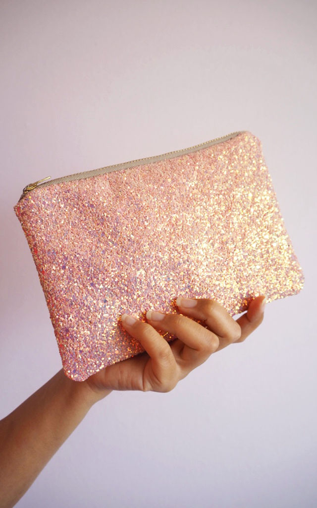 Glitter Mini Clutch Bag in Bubblegum Pink by Suki Sabur Designs