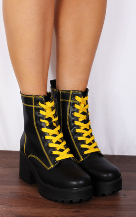 Black Yellow Stitching Chunky Platforms Lace Ups Ankle Boots by Shoe Closet