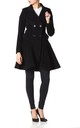 Elena Black Wool Blend Fit And Flare Skater Coat by De La Creme Fashions
