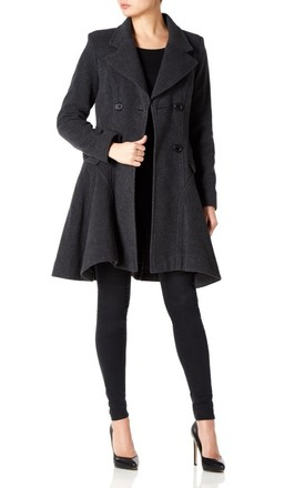Elena Grey Wool Blend Fit And Flare Skater Coat by De La Creme Fashions