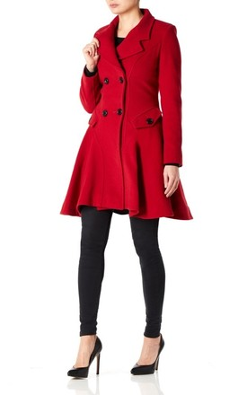 Elena Red Wool Blend Fit And Flare Skater Coat by De La Creme Fashions Product photo