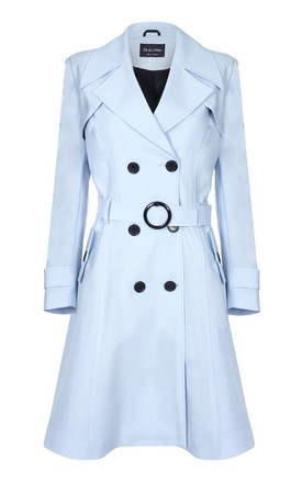 Vienna Light Blue Double Breasted Trench Mac by De La Creme Fashions