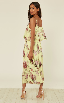 Yellow Floral Print Pleated Cami Midi Dress by URBAN TOUCH