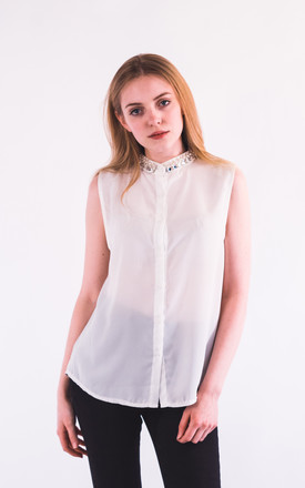 Pearl Embellished Neckline Sleeveless shirt by CY Boutique