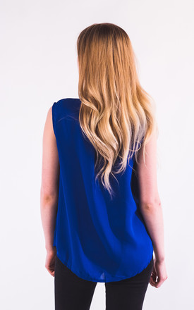 Sleeveless Shirt with Pearl Embellished Neckline in Royal Blue by CY Boutique