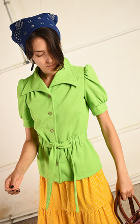 Vintage 70s Paris chic Mod festival top in lime green by Lover