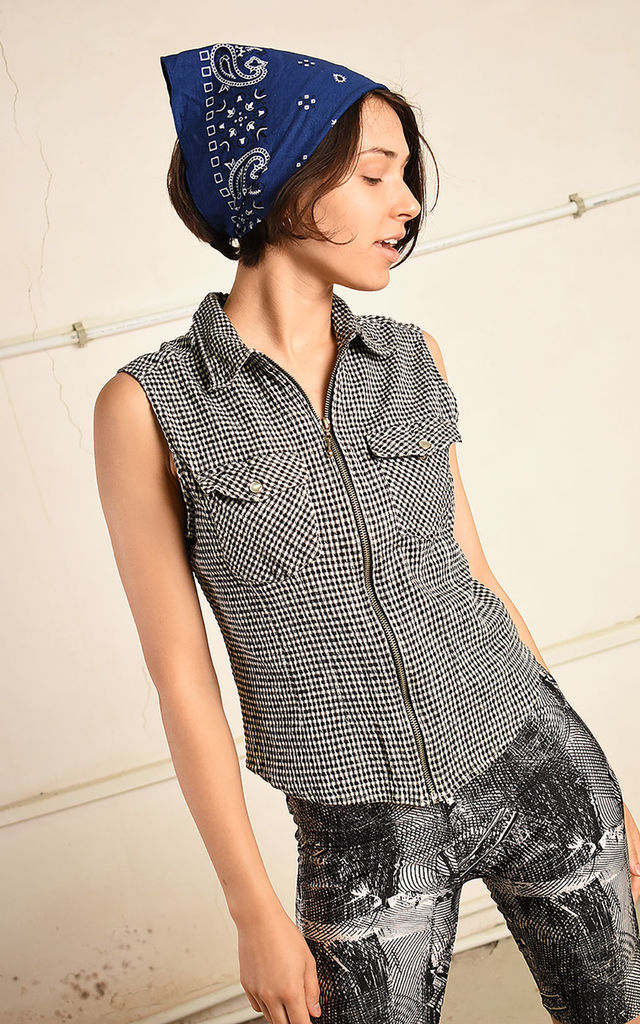 90's retro checked minimalist Paris chic top blouse gilet by Lover