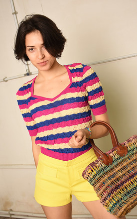 70's retro striped knitted Paris chic festival top by Lover