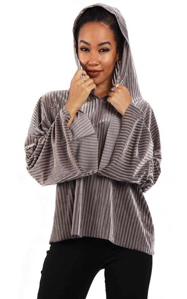 Grey Oversized Cropped Velvet Hooded Jumper With Bell Sleeve by Urban Mist
