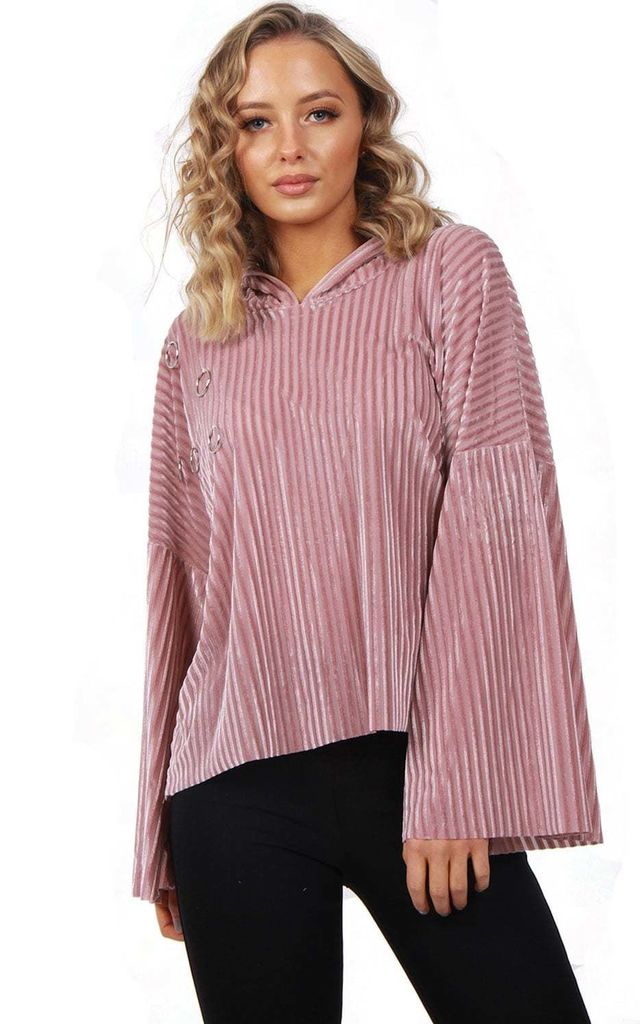 Pink Oversized Cropped Velvet Hooded Jumper With Bell Sleeve by Urban Mist