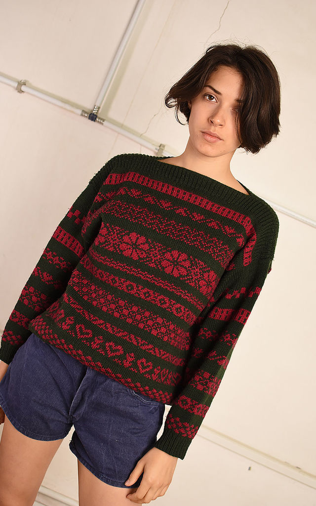80's retro Fair Isle pattern knit Paris chic wool jumper by Lover