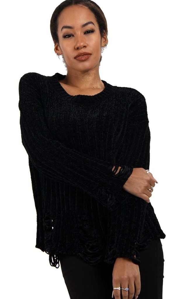 Black Soft Chenille Distressed Jumper (Variant) by Urban Mist