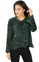 Green Soft Chenille Distressed Jumper by Urban Mist