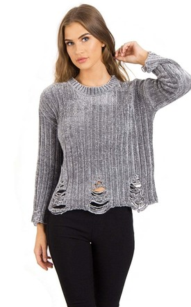Grey Soft Chenille Distressed Jumper by Urban Mist
