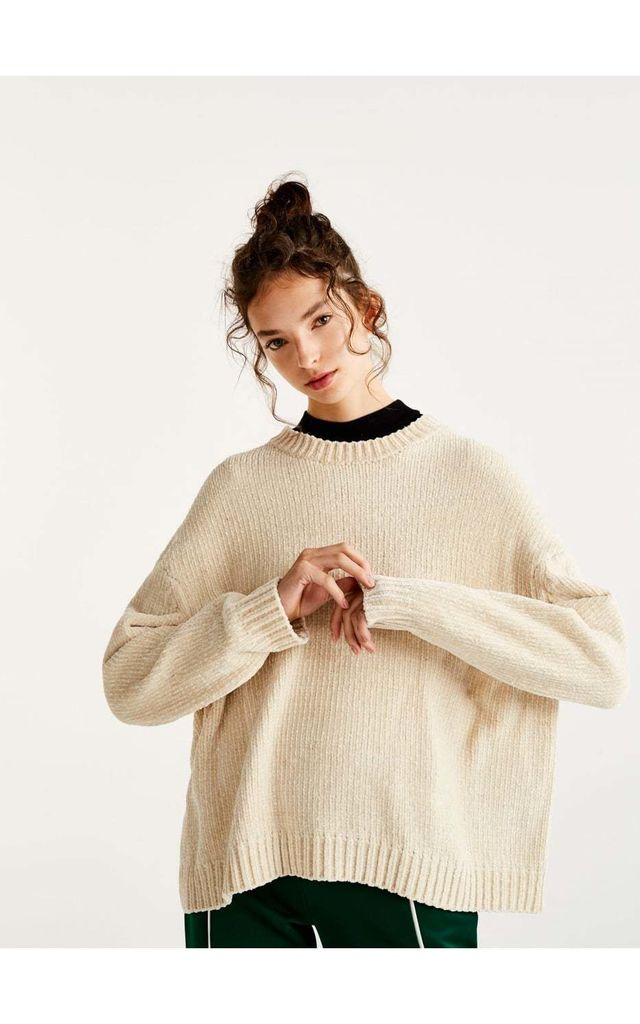 Cream Oversized Soft Knitted Chenille Hole Design Sleeve Jumper by Urban Mist