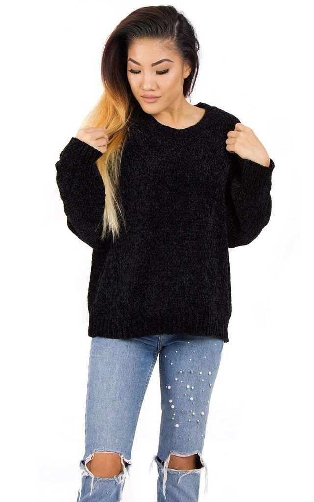 Black Oversized Soft Knitted  Chenille Hole Design Sleeve Jumper by Urban Mist