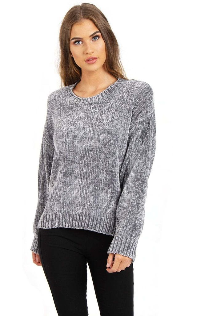 4a1e883ed Grey Oversized Soft Knitted Chenille Hole Design Sleeve Jumper by Urban Mist