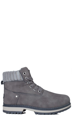 TIGA Lace Up Cleated Sole Flat Combat Worker Walking Ankle Boots Shoes - Grey Leather Style by SpyLoveBuy