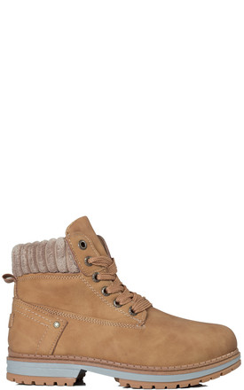 TIGA Lace Up Cleated Sole Flat Combat Worker Walking Ankle Boots Shoes - Tan Leather Style by SpyLoveBuy