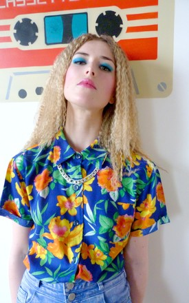 Clair Electric Blue Floral Viscose Cotton Hawaiian Shirt by Krissyfied Boutique Product photo