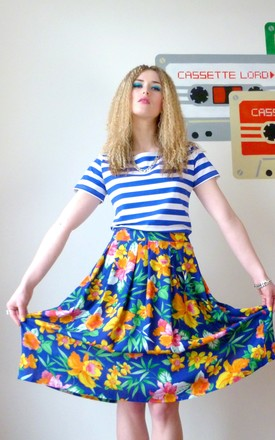 Nove Electric Blue Floral Viscose Cotton Hawaiian Midi Skirt by Krissyfied Boutique Product photo