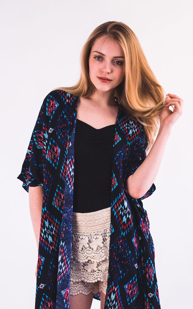 Short Sleeve Kimono in Blue Aztec Tile Print by CY Boutique