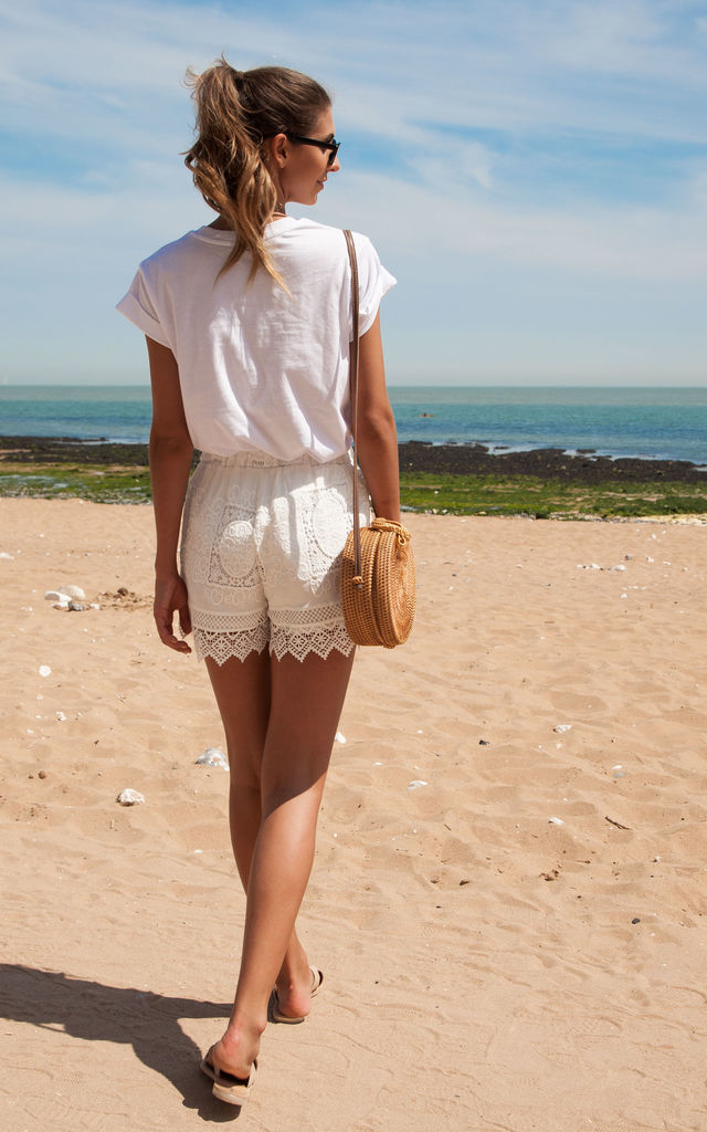 White Crochet Lace Cotton Shorts by Styled In London