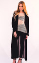 Maxi Length Cardigan with Chiffon Back in Black by CY Boutique