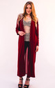 Maxi Length Cardigan with Chiffon Back in Burgundy by CY Boutique