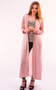 Maxi Length Cardigan with Chiffon Back in Pink by CY Boutique