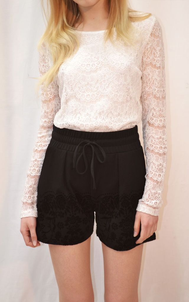 Black Velour Floral embellished Runner Shorts by CY Boutique