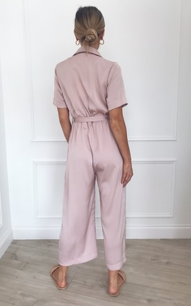 Darcy Satin Culotte Jumpsuit - Pink by Pretty Lavish