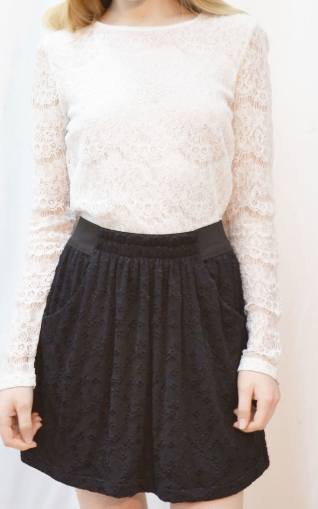 Skater Skirt with Pockets in Black Floral Lace by CY Boutique