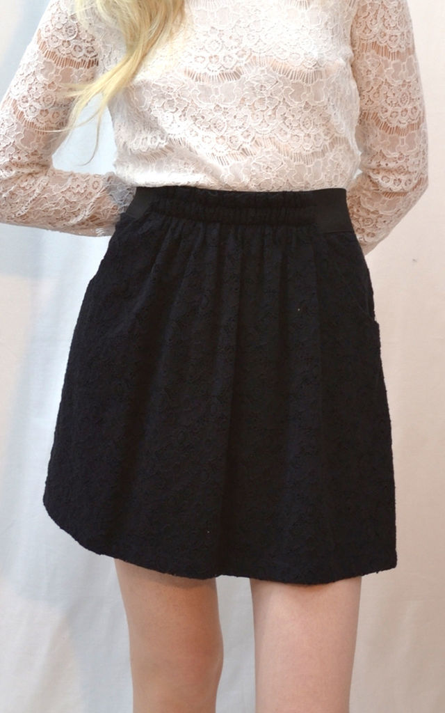 afda6d66c7 Skater Skirt In Black Floral Lace | CY Boutique | SilkFred