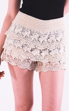 Floral Pattern Cream Crochet Shorts Summer Holiday Wear Silkfred