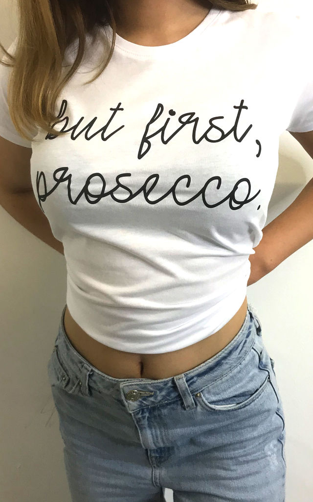 T Shirt in White with Prosecco Slogan by Save The People