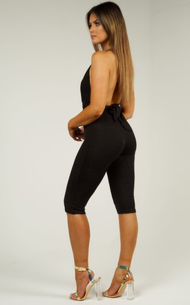 Wrap Around Backless Jumpsuit - Black Shimmer by AJ | VOYAGE