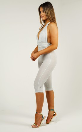 Glitter Wrap Around Backless Jumpsuit - Silver Shimmer by AJ | VOYAGE