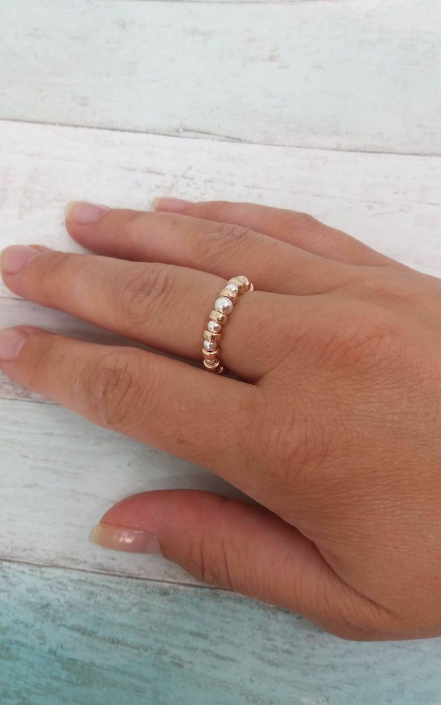 Rose Gold & Sterling Silver Rondelle Ring by Kelly England Handmade Jewellery