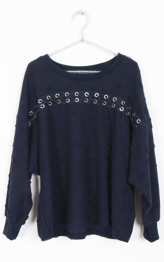 Navy Eyelet Lace Up Front Detail Oversized Jumper (Variant) (Variant) by Urban Mist