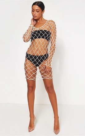 White Crochet netted Beaded Cover Up by The Fashion Bible