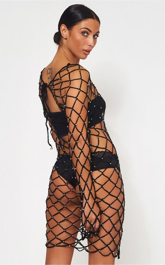 Black Crochet Beaded Cover Up by The Fashion Bible