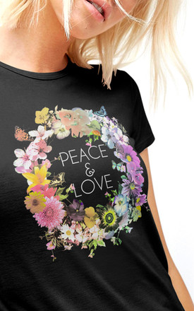 Peace & Love Slim Fit T-Shirt in Black by Fashionkilla