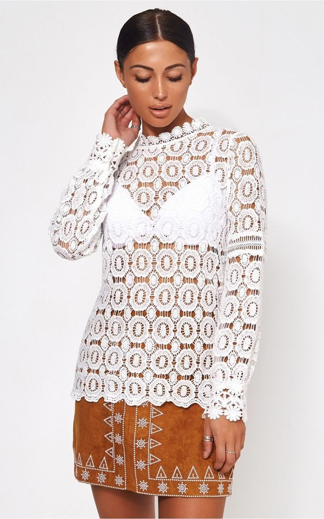 Gina White Crochet Blouse by The Fashion Bible