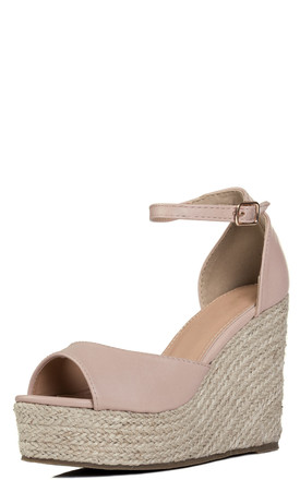 MIYAA Platform Wedge Heel Espadrille Sandals Shoes - Nude Leather Style by SpyLoveBuy