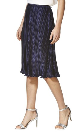 Cutie Silky Pleated Skirt Navy by Cutie London